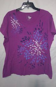 JMS Purple Flower Burst Tshirt Sz 3X